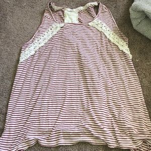 striped lacey tank top